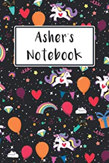 Asher's Notebook: Journal Notebook Gift For Asher, Cute Unicorn Lover, Lined Paper To Take Notes, 120 Pages, 6×9 inch Size...