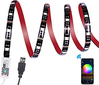 WiFi TV LED Strip Backlight, ALED LIGHT 2.2M RGB Waterproof USB Strip Light Kit APP Controlled 5050 Multicoloured Rope Light Work with Alexa, Google Home for PC, Home, Outdoor Decoration(2x50CM+2x60CM