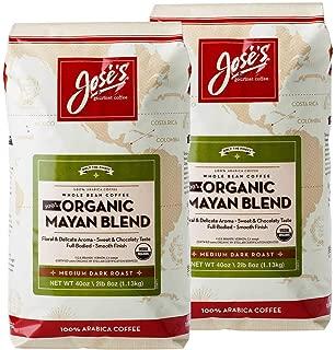 2 Pack, Jose's Whole Bean Coffee, 2lb 8 oz/40 oz, Medium Dark Roast, 100% Certified USDA Organic Mayan Blend, 100% Arabica Coffee
