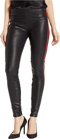 Vegan Leather Pull-On Skinny with Red Striping Detail in Light My Fire