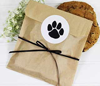 Cookie Favor Treat Bag Set with Dog Paw Print Sticker and Satin Ribbon. Set of 25 Ready-to-Use, 8x6x1 Eco-Friendly Paper Party Gift Bags, Stickers and Ribbon. Brown, Black, White.