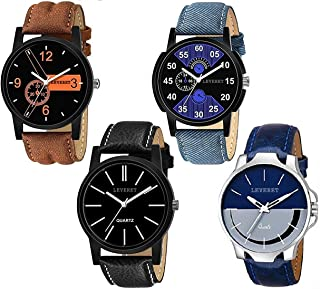 LEVERET D&S Fashion Club Combo Pack of 4 Analogue Black Dial Men's Watches