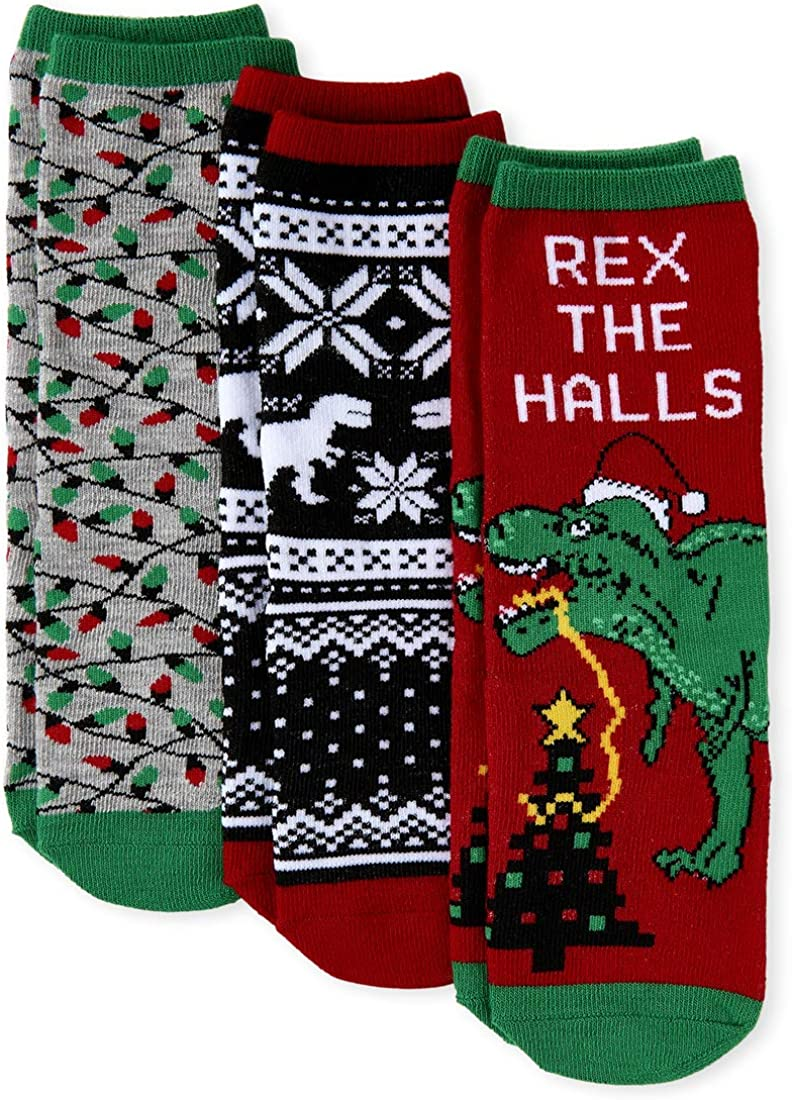 The Children's Place Boys' Christmas Socks, Pack of Three, Multi CLR, M 1-2