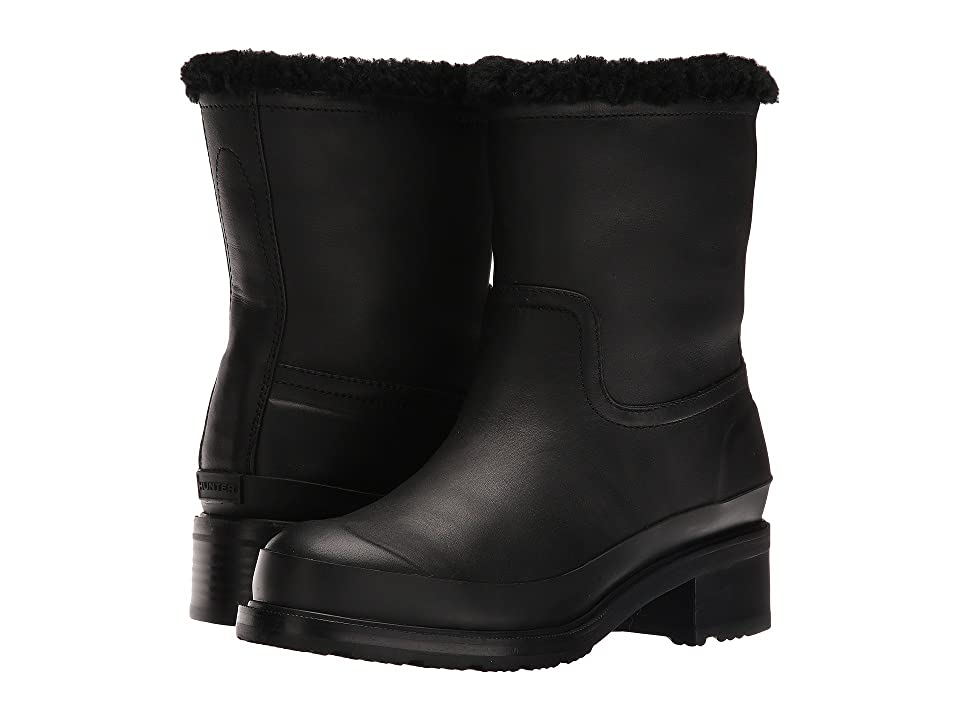 Hunter Original Lined Shearling Ankle Boot (Black) Women
