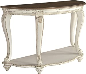 Signature Design by Ashley - Realyn Semi-Circle Console Table, White/Brown Wood