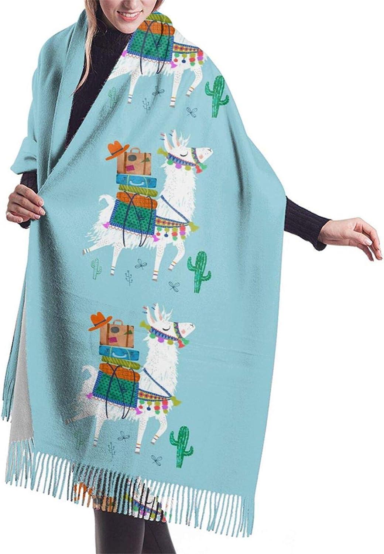 Womens Soft Cashmere Scarf,Traveling Llama Shawl Scarf,Premium Large Pashmina,Warm Wrap Blanket Solid Shawl Elegant Wrap