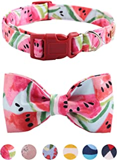Unique style paws USP Bowtie Dog Collar and Cat Collar Handmade Detachable Bowtie Dog Collar Plastic Buckles Durable Adjustable Dog Collars for Small Medium Large Dogs 6 Sizes and 6 Patterns…