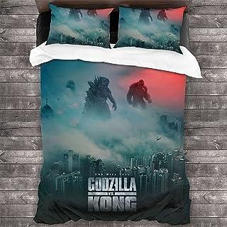 King Kong Vs Godzilla Bedding Set, 3D Digital Printing Godzilla Vs Kong Pattern Duvet Cover and Pillowcase, 100% Microfibe...