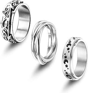 Udalyn Juego de 3 anillos giratorios de acero inoxidable para mujeres y hombres, anillos de banda triple entrelazados con ...