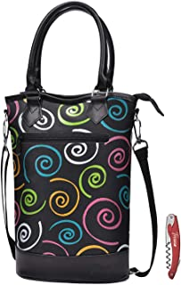 Tirrinia Insulated Wine Carrier Tote - Travel Padded 2 Bottle Wine/Champagne Cooler Bag with Handle and Adjustable Shoulder Strap + Free Corkscrew, Great Wine Lover Gift, SPIRAL