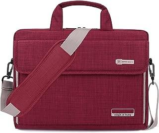 BRINCH Laptop Bag Oxford Fabric Portable Notebook Messenger Bag Shoulder Briefcase Handbag Travel Carrying Sleeve Case w/Shoulder and Luggage Strap for Men Women Compatible 17-17.3 Inch Laptop, Red