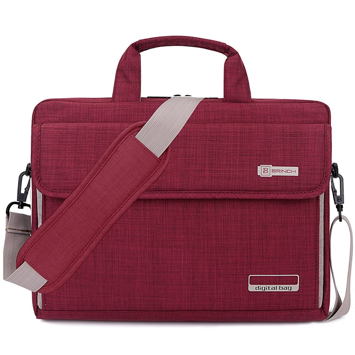 BRINCH Laptop Bag Oxford Fabric Portable Notebook Messenger Bag Shoulder Briefcase Handbag Travel Carrying Sleeve Case w/Shoulder and Luggage Strap for Men Women Compatible 17-17.3 Inch Laptop, Red