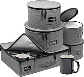 Sorbus China Dinnerware Storage Organizer 5-Piece Set for Protecting or Transporting — Service for 12 — Round Plate and Cu...