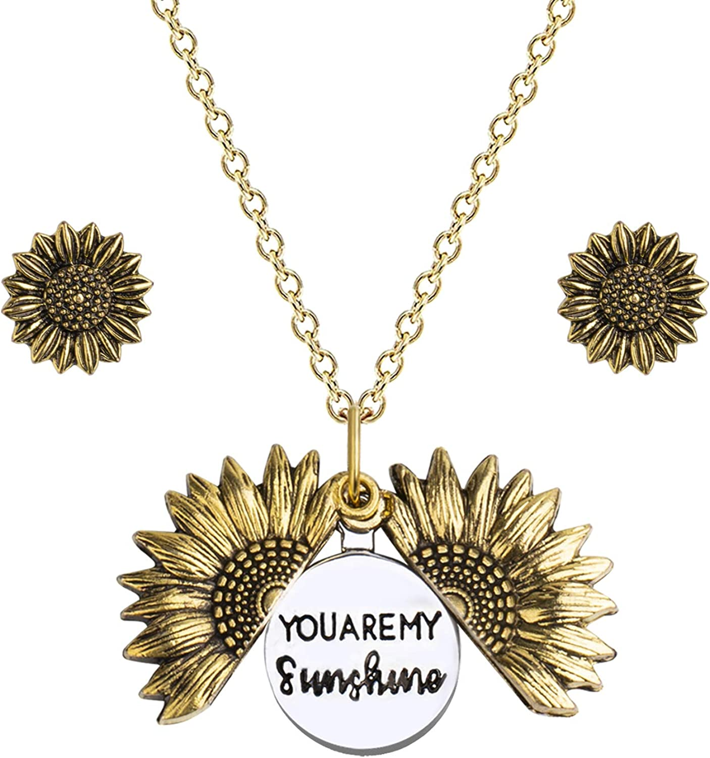 Sunflower Necklace and Earrings Set You Are My Sunshine Necklace Mother Daughter Necklace Jewelry for Women and Girls with Gift Box Engraved Pendant Locket Necklace