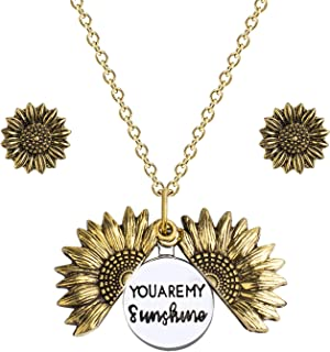 You Are My Sunshine Necklace, Sunflower Necklace and Earrings Set, Mother Daughter Necklace, Engraved Pendant Locket Neckl...