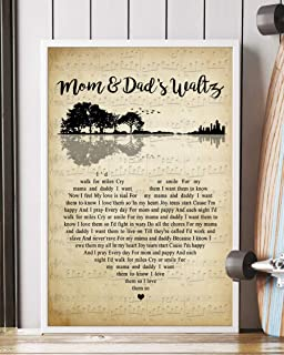 Trendora Decor Mom & Dad's Waltz Song Lyrics Guitar Heart Vintage Portrait Poster Print (12