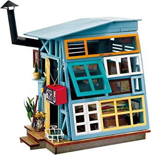 Rolife Miniature Dollhouse Kits with Accessories-Model Building Sets-Wooden Toys-Super Fun Playset-Best Birthday for Girls Women Friends Mom Wife(Wooden Hut)