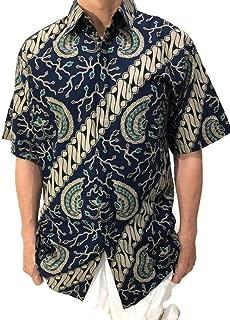 Garuda Black Blue Casual Cotton Hawaiian Batik Shirt Men