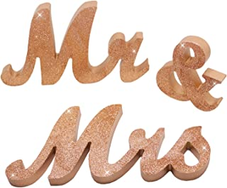 iShyan Mr & Mrs Sign Wedding Wooden Letters Free Standing for Wedding Sweetheart Head Table Decor,Rose Gold