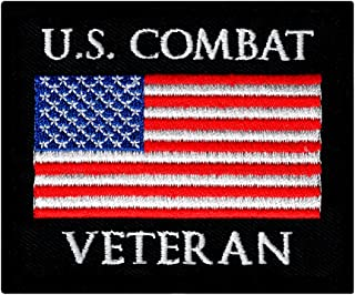 US Combat Veteran Embroidered Patch War Military Iron-On Emblem Vet Flag