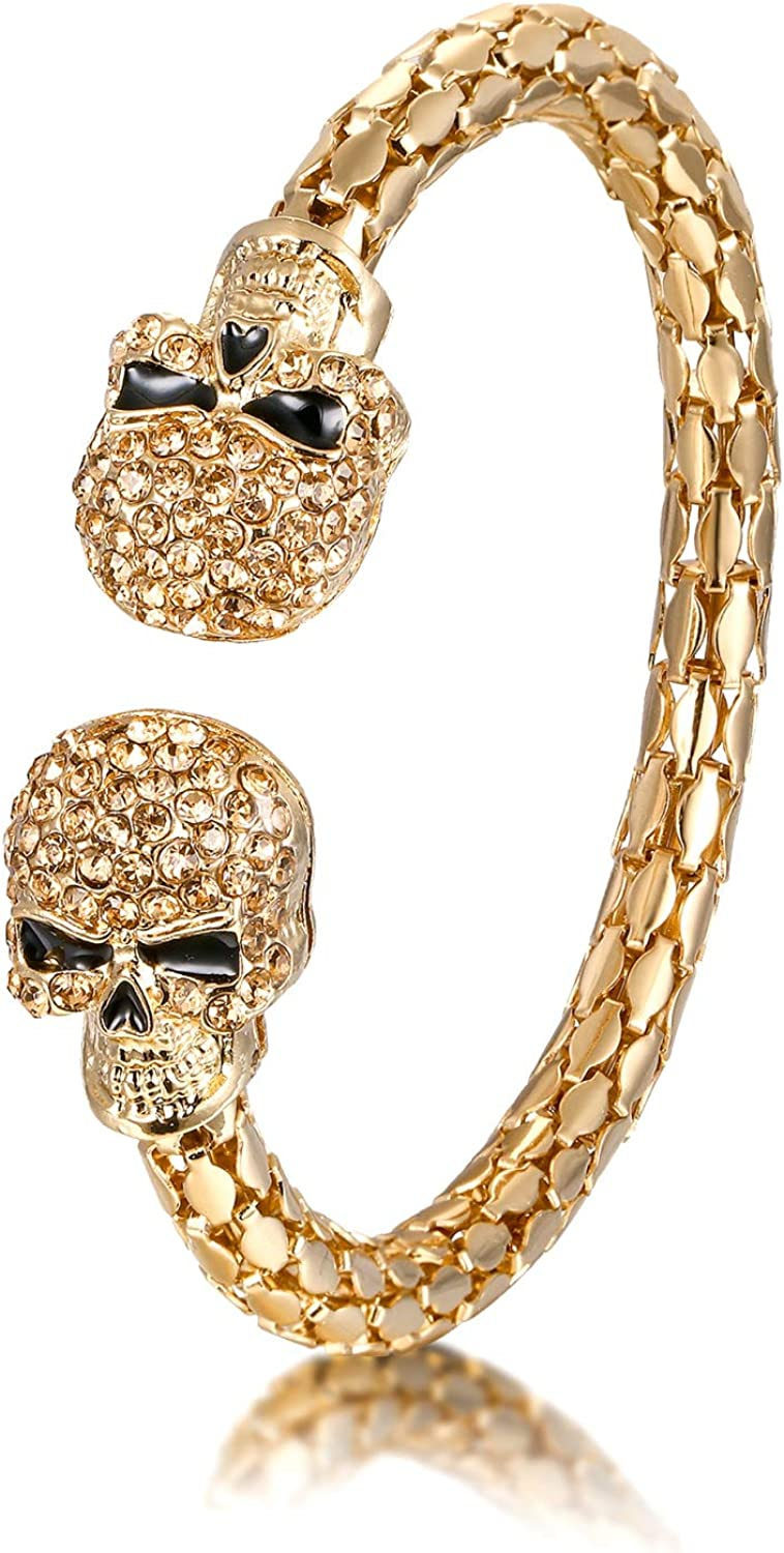 EVER FAITH Halloween Party Jewelry Accessory Crystal Double Skull Skeleton Bangle Adjustable Cuff Bracelet