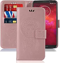 Booceicd Moto Z3 Case, Moto Z3 Play Case, [Wrist Strap] Luxury PU Leather Wallet Flip Protective Phone Case Cover with Card Slots and Stand for Motorola Moto Z3 Play (Rose Gold)