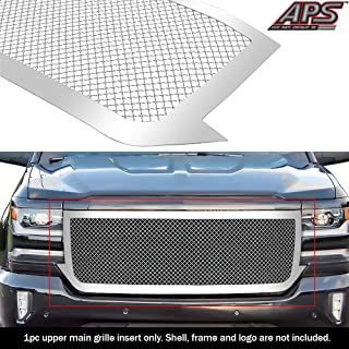 APS Compatible with 2016-2018 Chevy Silverado 1500 Main Upper Stainless 2.5 mm Mesh Grille Insert C76375S