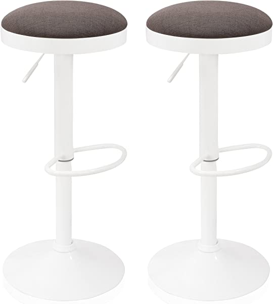 Krei Hejmo Adjustable Bar Stool Chair With Iron Base HATERO Set Of Two 2 White Smoky Gray
