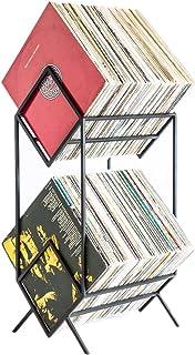 Estanterías para CD DVD Estantería de metal - Soporte de exhibición de discos de vinilo de 2 capas, Soporte de estante de ...