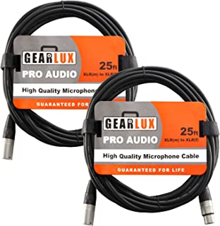 Gearlux XLR Microphone Cable Male to Female 25 Ft Fully Balanced Premium Mic Cable - 2 Pack