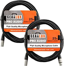 Gearlux XLR Microphone Cable Male to Female 25 Ft Fully Balanced Premium Mic Cable – 2 Pack