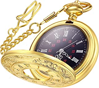 Vintage Pocket Watch Roman Numerals Scale Quartz Mens Womens Watch with Chain Christmas..