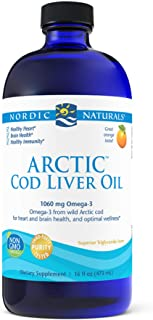 Nordic Naturals Arctic Cod Liver Oil, Orange - 16 oz - 1060 mg Total Omega-3s with EPA & DHA - Heart & Brain Health, Healt...