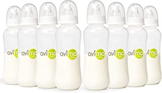 Avima Baby Bottles 8 Pack 10 oz. Anti-Colic Standard Neck with Stage 2 Medium Flow Nipples