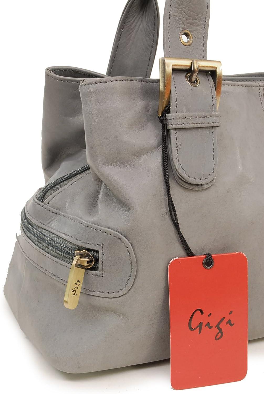 Gigi - Cuir Véritable - Sac Porté Main/Sac à Main/Sac porté épaule - Femme - 6165 Gris