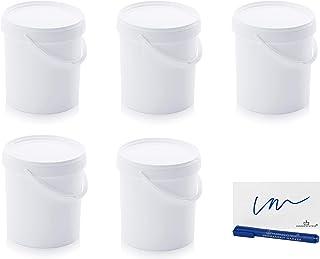 MARKESYSTEM Seau Hermétique Pack 5 x 10,8 litres Conteneurs empilables en plastique avec couvercle Récipient alimentaire, ...