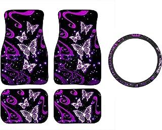 Binienty Universal Fit Car Floor Mats, 4 Pieces Full Set for Front and Rear, Cartoon Purple Butterfly Print, Non Slip Floor Carpet Foot Mats