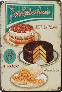 UNIQUELOVER Kitchen Signs Wall Decor Rustic, Fresh Baked Goods Best in Town Vintage Retro Metal Food Tin Sign Wall Decor 12 x 8 Inches /30 x 20cm