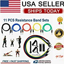 11 Pc's Set Yoga Pilates Resistance Bands Abs Exercise Fitness Tube Workout Bands,Home Gym Exercise Fitness Apparatuur for...