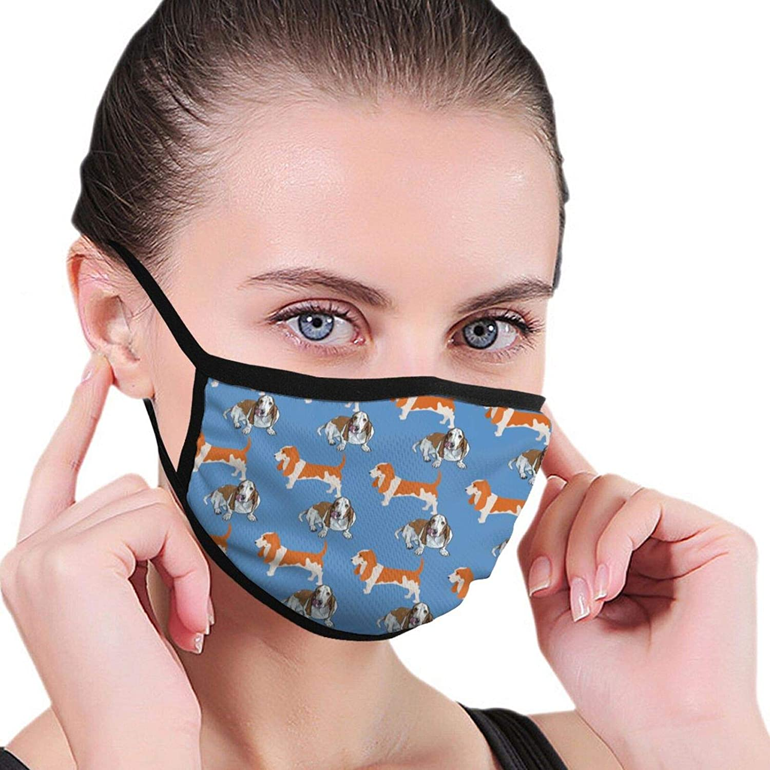 LANJYF 2 Packs Anti-Dust Basset Hound Dog Facial Covering Mouth Protection Unisex Cotton