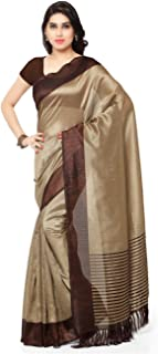 Rajnandini Women's Tussar Silk Stripes Printed Saree(JOPLNB3011_Free Size)