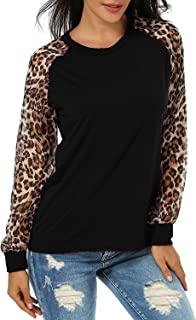 75117329a7c095 ZANZEA Women's Sexy Casual Long Sleeve Chiffon Round Neck Leopard Print  Tops Blouse T-Shirt