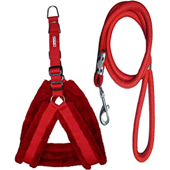 Petshop7 Nylon Dog Harness & Leash Rope Set with Fur 0.75 inch Small - (Chest Size - 23-28) (Red)