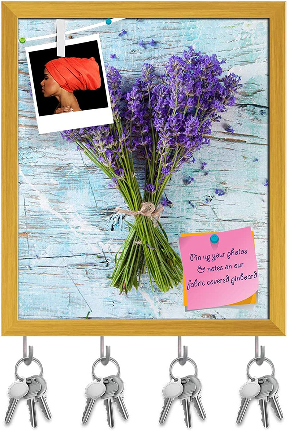 Artzfolio Lavender Blossoms Key Holder Hooks   Notice Pin Board   golden Frame 16 X 18.9Inch