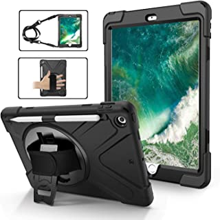 iPad 6th Generation Cases with Pencil Holder, TSQ Heavy Duty Shockproof Durable Hard Rugged Protective Case with Handle Hand Strap/Stand/Shoulder Strap for iPad 9.7 Inch A1893/A1954/A1822/A1823,Black