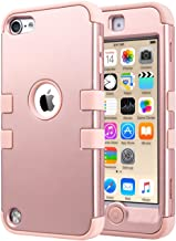 ULAK iPod Touch 7 Case, 3 in 1 Hard PC Case with Shockproof Silicone Interior Heavy Duty High Impact Dual Layer Protective Case for Apple iPod Touch 7th/6th/5th Generation (Rose Gold)