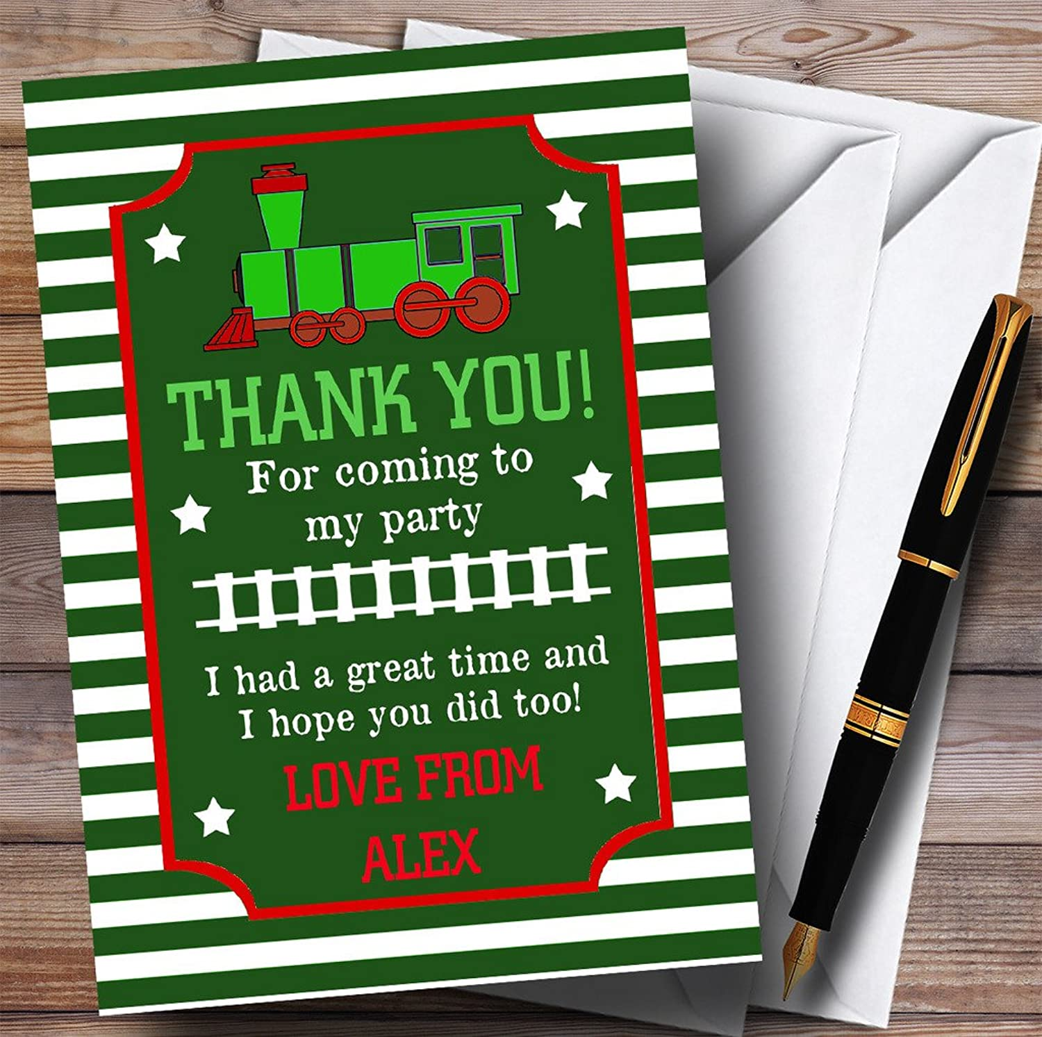 Green & Red Striped Train Party Thank You Cards
