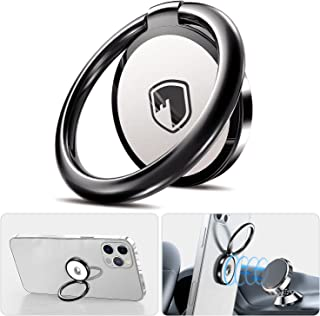 Phone Ring Holder Finger Kickstand - FITFORT 360° Rotation Metal Ring Phone Stand & Grip for Magnetic Car Mount Compatible with All Smartphones-Gun Black
