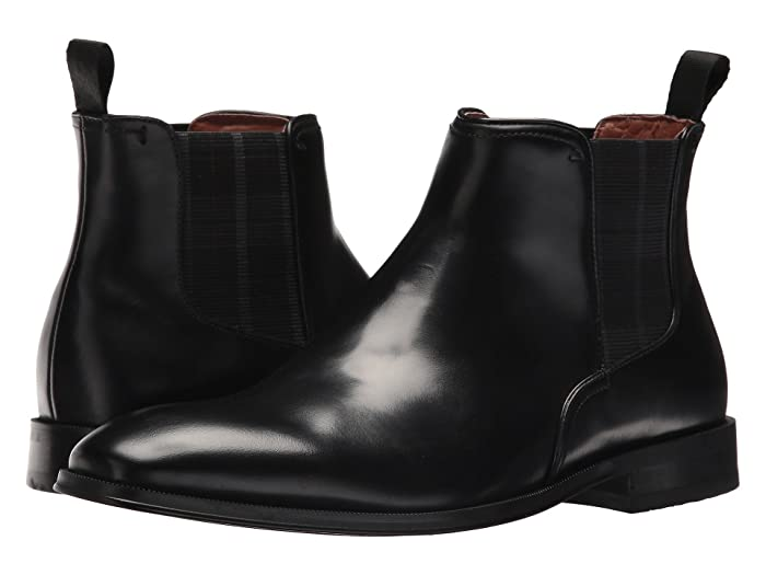 Florsheim  Belfast Plain Toe Gore Boot (Black Smooth) Mens Dress Pull-on Boots