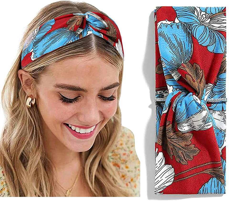 1 Pack Headbands for Women Hairband Turban Vintage Elastic Flower Style Criss Cross Head Wrap Hair Band Cute Hair Accessories (1 Pack, 4#)